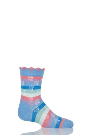 Girls 1 Pair Falke Cotton Seashell Striped Socks Blue 19-22