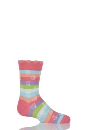 Girls 1 Pair Falke Cotton Seashell Striped Socks Pink 23-26
