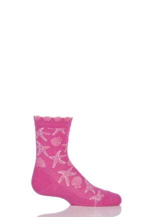 Girls 1 Pair Falke Cotton Seashell and Starfish Socks with Frill Top Pink 31-34