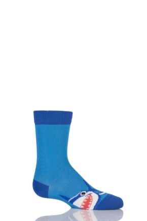 Boys 1 Pair Falke Shark Design Cotton Socks Blue 35-38