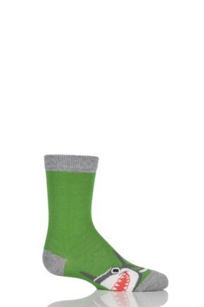 Boys 1 Pair Falke Shark Design Cotton Socks Green 35-38
