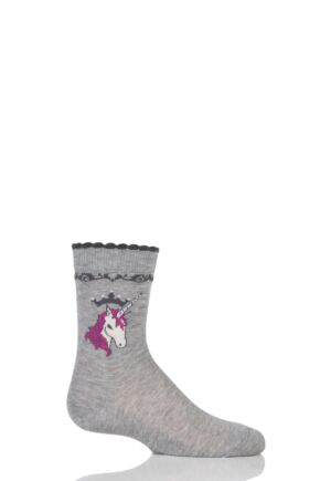 Girls 1 Pair Falke Unicorn Cotton Socks Grey 6-8.5 Kids