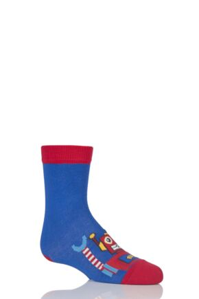 Boys 1 Pair Falke Robot Cotton Socks Blue 6-8.5 Kids