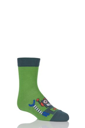 Boys 1 Pair Falke Robot Cotton Socks Green 9-11.5 Kids