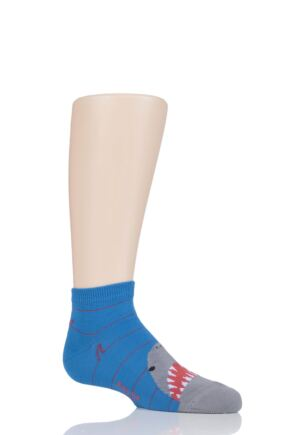 Boys 1 Pair Falke Sharks Cotton Socks Blue 31-34