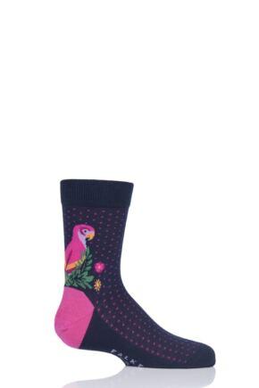 Girls 1 Pair Falke Parrot Cotton Socks Navy 9-11.5 Kids