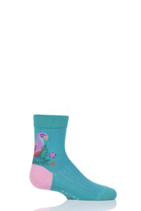 Girls 1 Pair Falke Parrot Cotton Socks Emerald 6-8.5 Kids