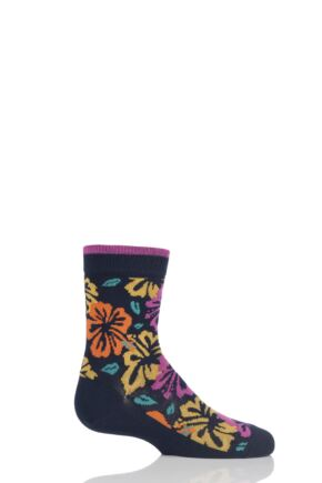 Girls 1 Pair Falke Hibiscus Cotton Socks Navy 23-26