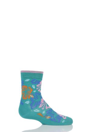 Girls 1 Pair Falke Hibiscus Cotton Socks Teal 31-34
