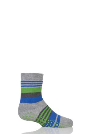 Boys 1 Pair Falke Irregular Stripe Catspads Grey 9-11.5 Kids