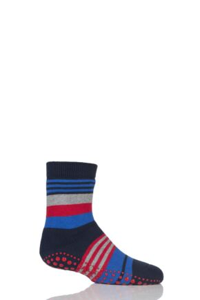 Boys 1 Pair Falke Irregular Stripe Catspads Navy 9-11.5 Kids