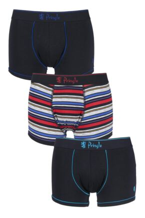 Mens 3 Pack Pringle Plain and Multi Stripe Print Cotton Boxers