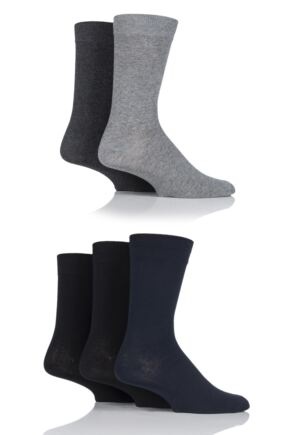 Mens 5 Pair Jack & Jones Jens Plain Cotton Socks