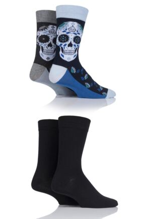 Mens 4 Pair Jack & Jones Jaccancun Sugar Skull Socks