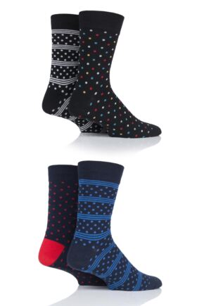Mens 4 Pair Jack & Jones All Over Dots Socks