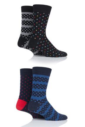 Mens 4 Pair Jack & Jones All Over Dots Socks