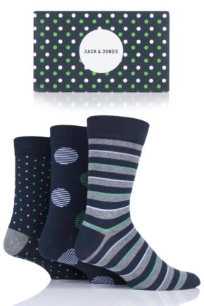 Mens 3 Pair Jack & Jones Spots and Stripe Socks Gift Box