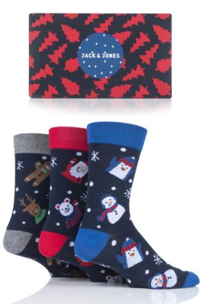 Mens 3 Pair Jack & Jones Snowman, Gingerbread Man and Santa Christmas Socks Gift Box