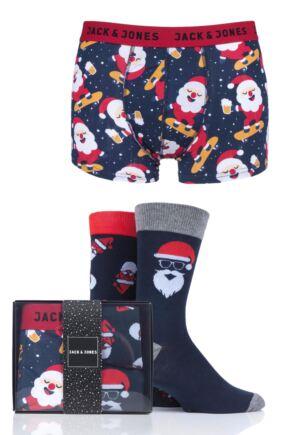 Mens Jack & Jones 2 Pair Socks and 1 Pack Boxers Christmas Gift Box