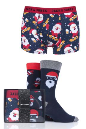 Mens Jack & Jones 2 Pair Socks and 1 Pack Boxers Christmas Gift Box