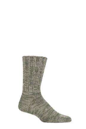 Mens 1 Pair Falke Brooklyn Organic Cotton Heavy Weight Socks Green 43-46