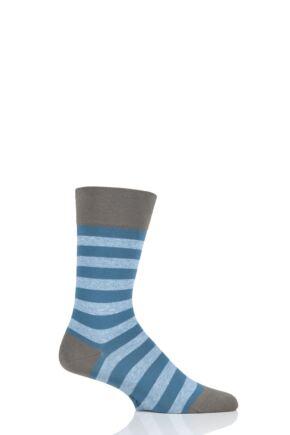 Mens 1 Pair Falke Sensitive London Striped Cotton Socks