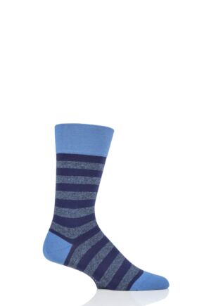 Mens 1 Pair Falke Sensitive London Striped Cotton Socks