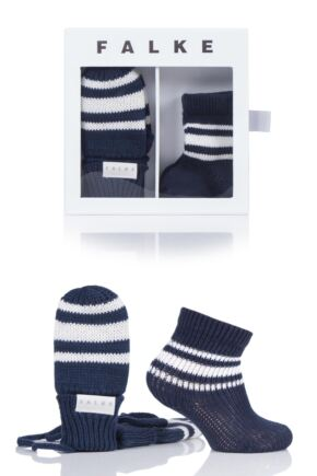 Babies Falke Socks and Mittens Gift Box Marine 1-6 Months