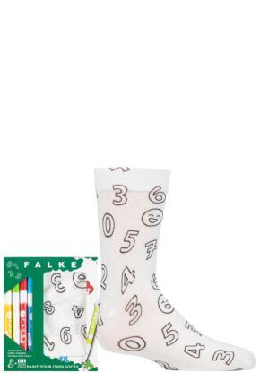 Boys and Girls 1 Pair Falke Colour your own Socks Gift set White 9-11.5 Kids (4-6 Years)