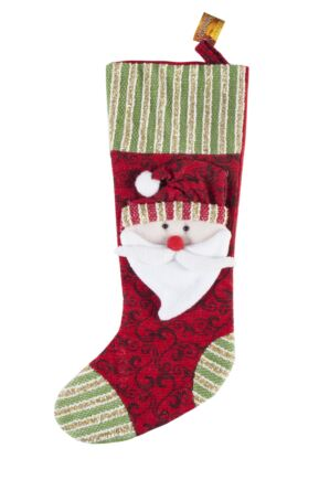SockShop 3D Santa Design Christmas Stocking Red
