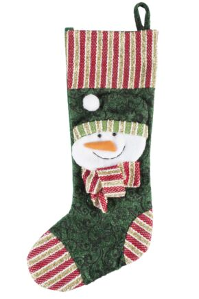 SockShop 3D Snowman Design Christmas Stocking Green