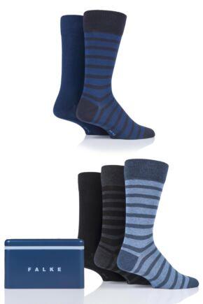 Mens 5 Pair Falke Gift Boxed Plain and Stripe Cotton Socks