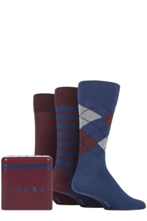 Mens 3 Pair Falke Gift Boxed Patterned Cotton Socks
