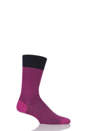 Mens 1 Pair Falke Fine Shadow Cotton Socks Pink 43-44