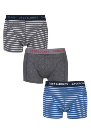 Mens 3 Pack Jack & Jones Thomas Striped Trunks