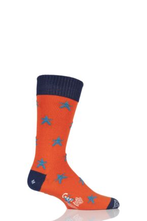 Mens 1 Pair Corgi 100% Cotton Stars Socks Tango L