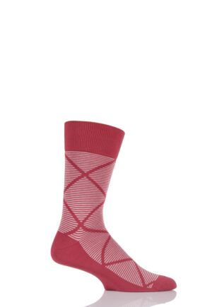 Mens 1 Pair Falke Graphic Striped Argyle Cotton Socks Red 39-42