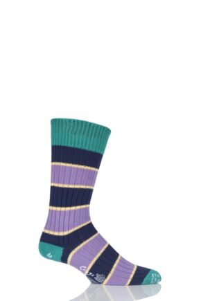 Mens 1 Pair Corgi 100% Cotton Triple Stripe Socks
