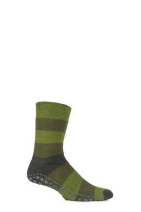 Mens 1 Pair Falke Striped Seasonal Homepad Socks Moss 43-46