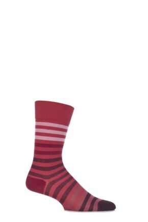 Mens 1 Pair Falke Colour Striped Mercerised Cotton Socks Red 39-42