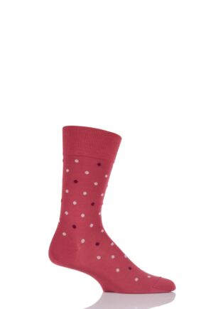 Mens 1 Pair Falke Bicolour Dotty Mercerised Cotton Socks Red 43-46
