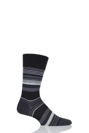 Mens 1 Pair Falke Multi Striped Cotton Socks Black 43-46