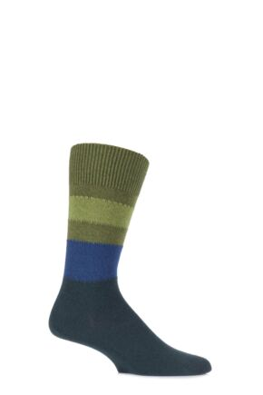 Mens 1 Pair Falke Lhasa Block Striped Cashmere Blend Leisure Socks Moss 39-42