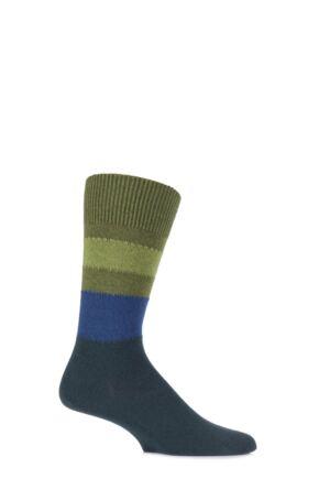 Mens 1 Pair Falke Lhasa Block Striped Cashmere Blend Leisure Socks Moss 39-42