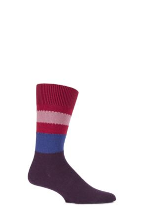 Mens 1 Pair Falke Lhasa Block Striped Cashmere Blend Leisure Socks Autumn Red 43-46