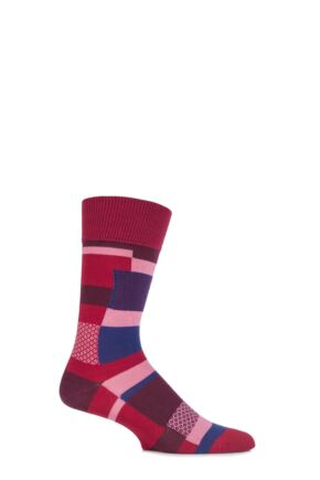 Mens 1 Pair Falke Cotton Multi Patterned Patchwork Socks Autumn Red 39-42
