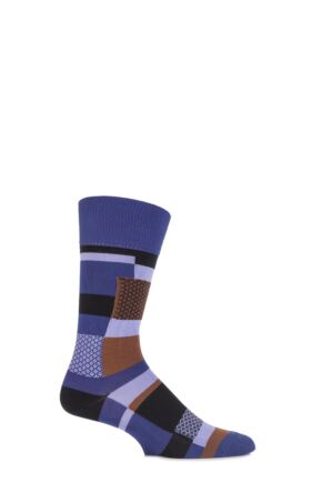 Mens 1 Pair Falke Cotton Multi Patterned Patchwork Socks Purple Night 43-46