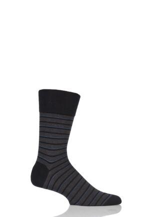 Mens 1 Pair Falke Sensitive Regular Fine Stripe Cotton Socks