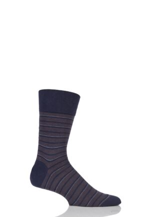 Mens 1 Pair Falke Sensitive Regular Fine Stripe Cotton Socks