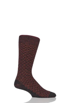 Mens 1 Pair Falke Bed Rock Virgin Wool Textured Squares Socks